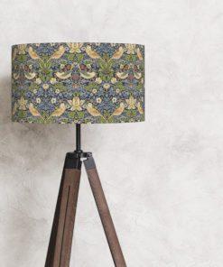 abażur na lampę vintage cylinder william morris niebieski