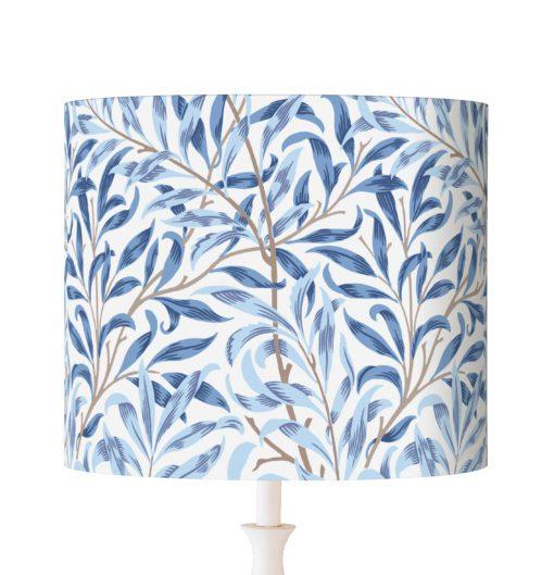 abażur niebieski listki willow william morris cylinder