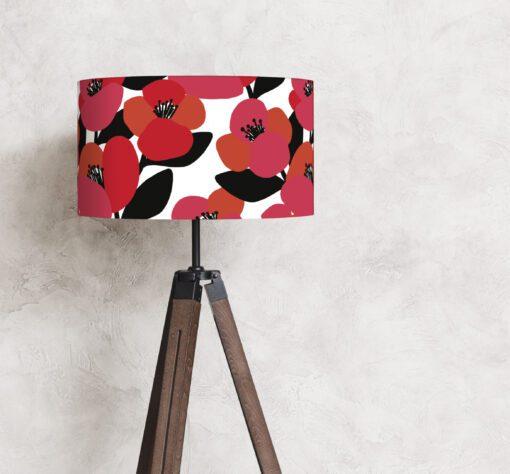 abażur klosz czerwone kwiaty do lampy