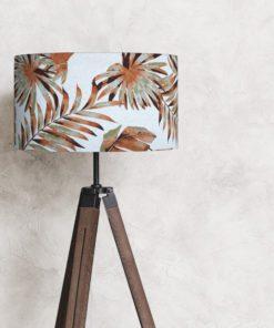 abażur klosz na lampę stojącą liście rośliny rude cylinder