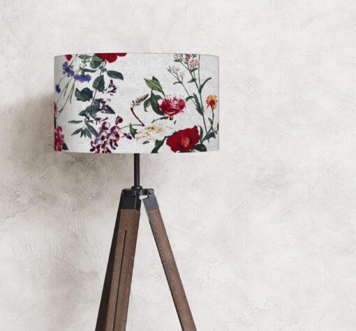 abażur lniany na lampę kolorowe kwiaty