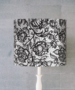 abażur klosz na lampę kwiaty czarno-białe