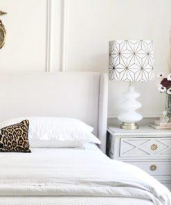 abażur biało-złoty na lampę stołową