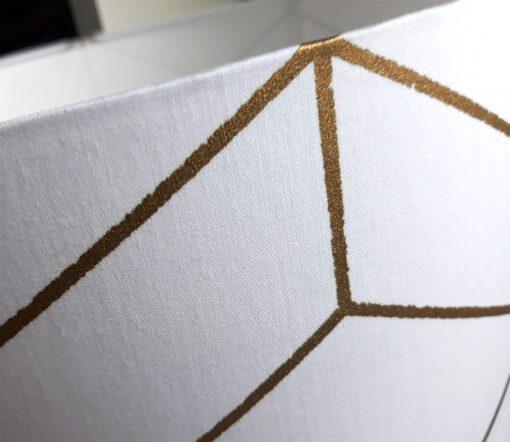 abażur klosz biało- złoty do lampy stołowej