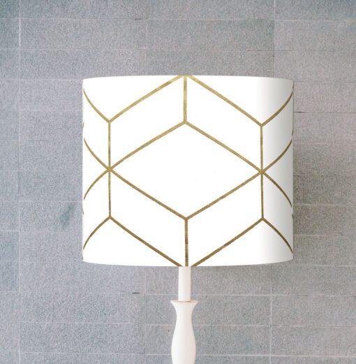abażur biało złoty do lampy