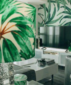 klosz dekoracyjny do lampy w zielone rośliny