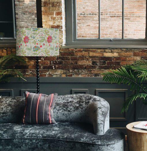 abażur klosz na lampę podłogową vintage kwiaty