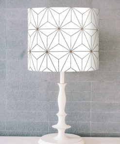 abażur biało-złoty do lampy stołowej