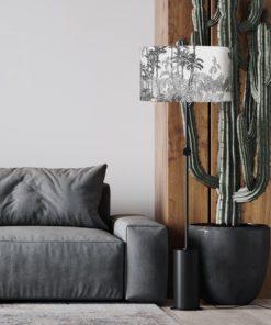 abażur biało czarny tropikalny do lampy podłogowej