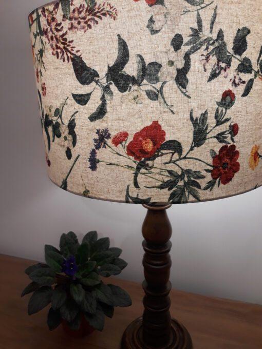 klosz abażur lniany do lampy kwiaty