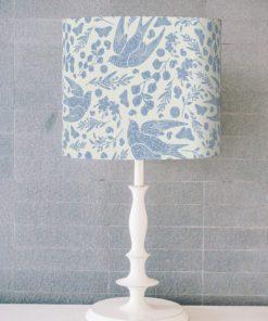 abażur klosz do lampy stołowej ptaki niebieski cylinder
