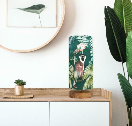 lampa dekoracyjna z abażurem zielona tropikalna