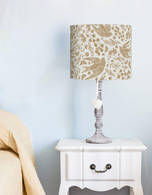 klosz beżowy na lampę ptaki