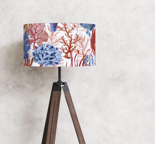 klosz na lampę koralowce czerwono-niebieski cylinder