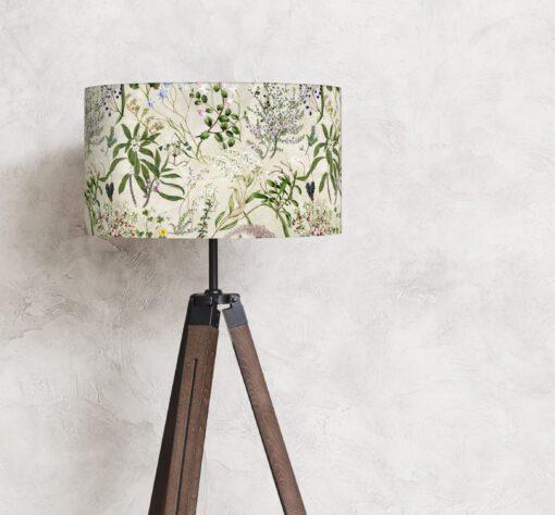 abażur klosz na lampę vintage kwiaty na beżu