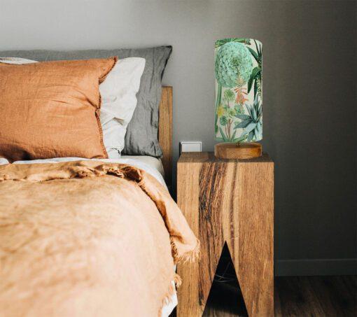 lampa nocna drewniana abażur sukulenty